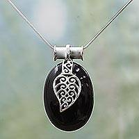 Onyx pendant necklace, 'Goddess of the Night' - Onyx pendant necklace