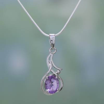 Amethyst pendant necklace, 'Sonnet' - Amethyst pendant necklace