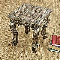 Brass accent table, 'Golden Garland' (large) - Indian Wood and Brass Accent Table