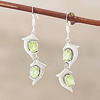 Peridot dangle earrings, 'Flying Dolphins' - Fair Trade Women's Sea Life Peridot Earrings
