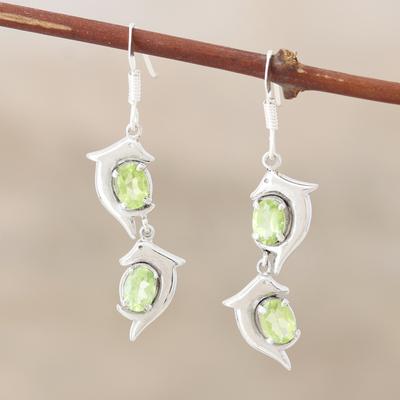 Peridot dangle earrings, 'Flying Dolphins' - Peridot dangle earrings