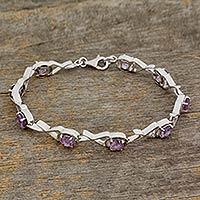 Amethyst link bracelet, 'Shimmer' - Amethyst link bracelet
