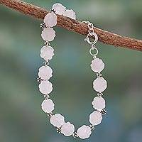 Rose quartz flower bracelet, 'Blossoming Ecstasy' - Sterling Silver and Rose Quartz Floral Bracelet from India