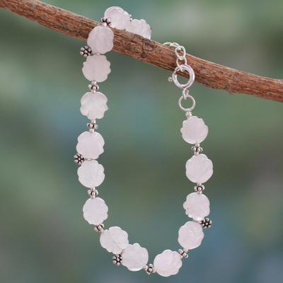 Novica Pearl and quartz flower necklace, Floral Moon - Hand Made Floral Quartz and Pearl Necklace