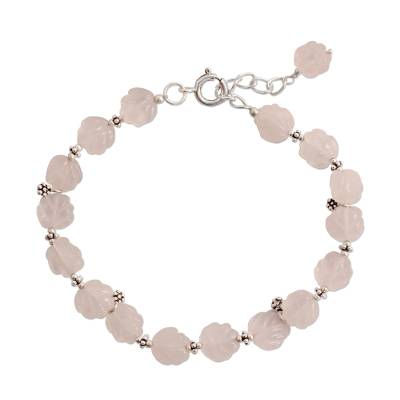 Rose quartz flower bracelet, 'Blossoming Ecstasy' - Rose Quartz Bracelet Sterling Silver Floral Jewelry