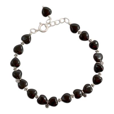 Onyx flower bracelet, 'Blossoming Ecstasy' - Onyx Bracelet Sterling Silver India Heart Jewelry