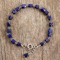 Lapis lazuli flower bracelet, 'Blossoming Ecstasy'