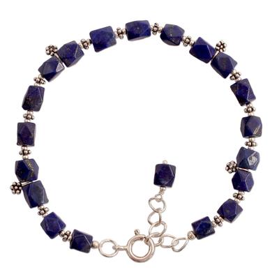 Lapis lazuli flower bracelet, 'Blossoming Ecstasy' - Fair Trade Floral Sterling Silver Lapis Lazuli Bracelet