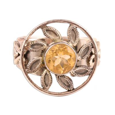 Unique Citrine and Silver Cocktail Ring