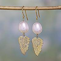 Gold vermeil pearl dangle earrings, 'Perfect Leaf' - Gold vermeil pearl dangle earrings