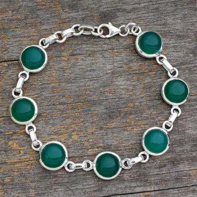 Sterling silver link bracelet, 'Forest Moon' - Sterling silver link bracelet