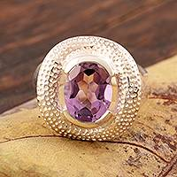 Amethyst cocktail ring, 'Impressionable One' - Artisan Crafted Silver and Amethyst Cocktail Ring