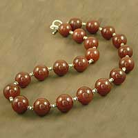 Carnelian strand necklace, 'Cinnamon' - Carnelian strand necklace