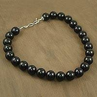 Onyx strand necklace, 'Queen of Shadows'