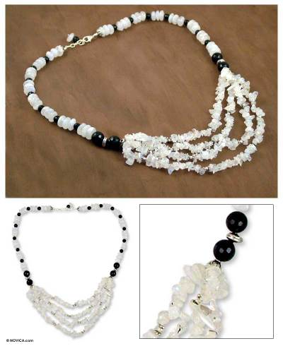 Onyx and moonstone collarette necklace, 'Attraction' - Onyx and moonstone collarette necklace