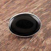 Onyx signet ring, 'Secrets of Night' - Onyx Ring Artisan Crafted Sterling Silver Jewelry