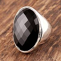 Onyx cocktail ring, 'Fascination' - Sterling Silver Cocktail Ring with Onyx Fair Trade Artisan