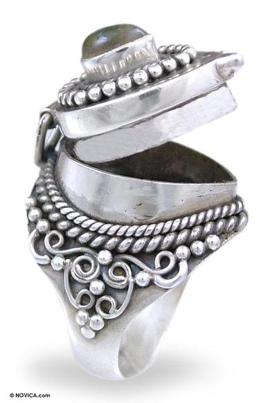 Labradorite cocktail locket ring, 'Forever Love' - Labradorite and Sterling Silver Locket Cocktail Ring