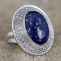 Lapis lazuli cocktail ring, 'Whisper' - Lapis Lazuli and Sterling Silver Cocktail Ring from India