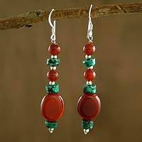 Carnelian and turquoise dangle earrings, 'Fiery Sky' - Carnelian and turquoise dangle earrings