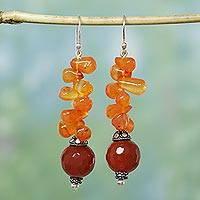 Carnelian dangle earrings, 'Ceremony' - Carnelian dangle earrings