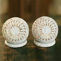 Soapstone candleholders, 'World is a Flower' (pair) - Hand Carved Jali Soapstone Candle Holders (Pair)