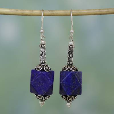 Lapis lazuli dangle earrings, 'Blue Goddess' - Lapis lazuli dangle earrings