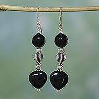 Onyx heart earrings, 'Night of Love' - Onyx heart earrings
