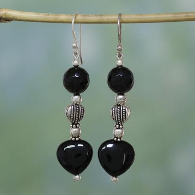 Onyx heart earrings, 'Night of Love' - Onyx heart earrings