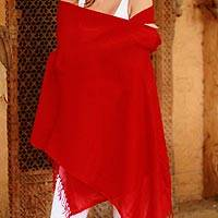 Wool shawl, 'Romance in Red' - Bright Red 100% Wool Shawl Hand Woven in India