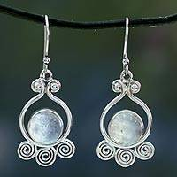Moonstone dangle earrings, 'Shimmer' - Moonstone dangle earrings