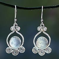 Moonstone dangle earrings, 'Shimmer' - Moonstone dangle earrings