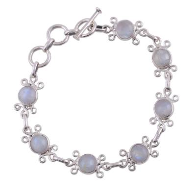 Handcrafted Indian Floral Sterling Silver Moonstone Bracelet