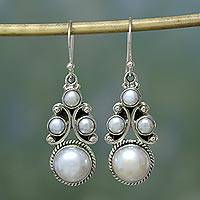 Pearl dangle earrings, 'Cloud Castle' - Bridal jewellery Sterling Silver Pearl Earrings from India