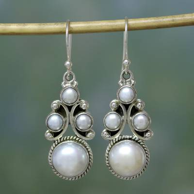 Pearl dangle earrings, 'Cloud Castle' - Bridal Jewelry Sterling Silver Pearl Earrings from India