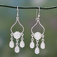 Rainbow moonstone chandelier earrings, 'Moonbeams' - India Sterling Silver and Rainbow Moonstone Earrings