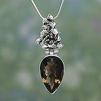 Smoky quartz flower necklace, 'Tiger Lily'