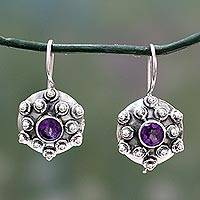 Amethyst drop earrings, 'Splendor' - Amethyst drop earrings