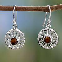 Tiger's eye dangle earrings, 'Morning Sun' - Tiger's eye dangle earrings