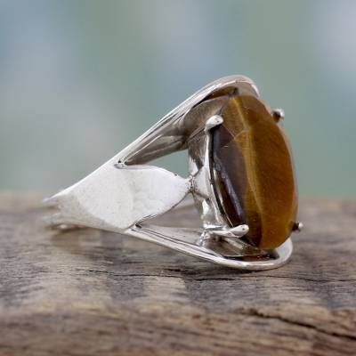 Tiger's eye solitaire ring, 'Glow' - Tiger Eye Silver Solitaire Ring Artrisan Crafted Jewelry