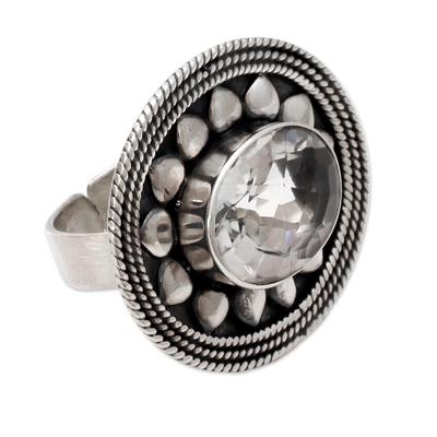 Quartz flower ring, 'Early Blossom' - Quartz flower ring
