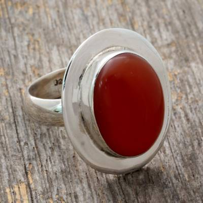 Carnelian solitaire ring, Spicy Hot