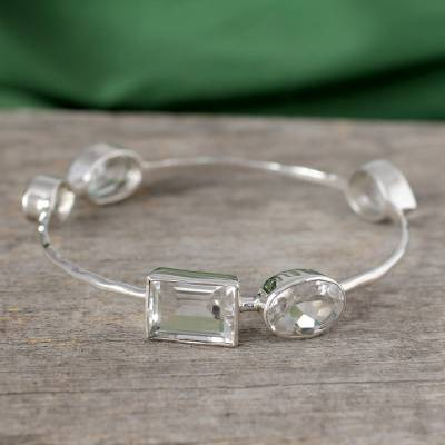 Quartz bangle bracelet, 'Clarity' - Crystal Quartz Bangle Bracelet Modern jewellery from India
