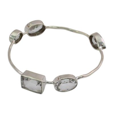 Crystal Quartz Bangle Bracelet Modern Jewelry from India