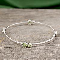 Peridot bangle bracelet, 'Tango' - Indian Peridot Bangle Bracelet in Sterling Silver