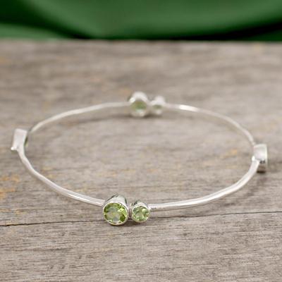 Peridot bangle bracelet, 'Tango' - Sterling Silver Bangle Peridot Bracelet from India