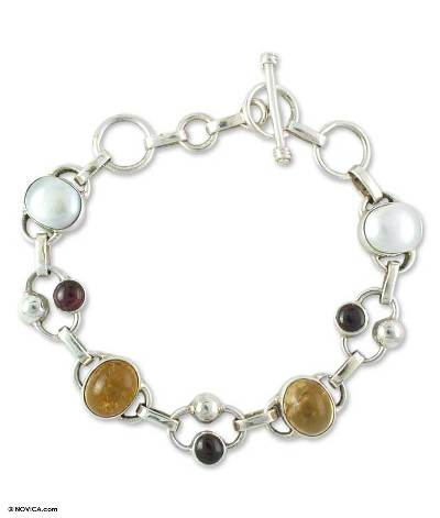 Pearl and citrine link bracelet, 'Bliss' - Sterling Silver Link Citrine Bracelet Indian Jewelry