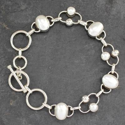 Pearl bracelet, 'Bliss' - Bridal Sterling Silver Link Pearl Bracelet from India