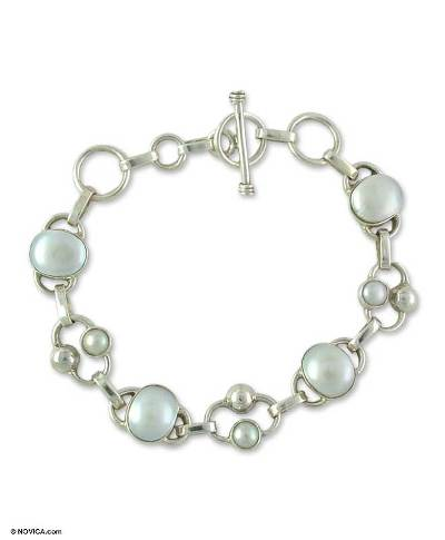 Bridal Sterling Silver Link Pearl Bracelet from India