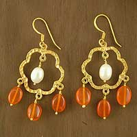 Gold vermeil carnelian chandelier earrings, 'Blossom' - Gold Vermeil Floral Earrings with Pearl and Citrine